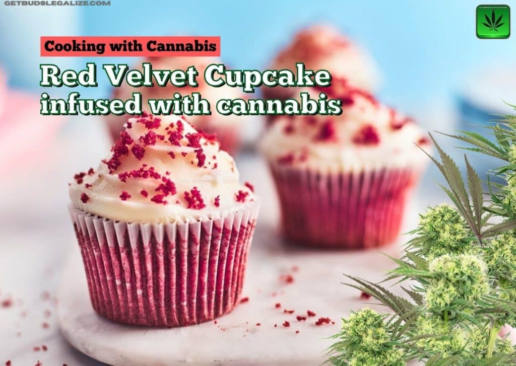 Red velvet cupcake recipe infused with cannabis, baking, cannabis, marijuana, weed, pot, cooking